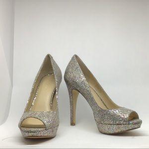 INC Silver Glitter Platform Heels, Size 7M